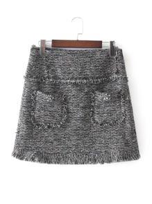 Rhinestone Detail Frayed Edge Tweed Skirt