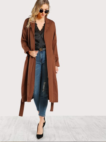 Front Pocket Lightweight Duster CAMEL