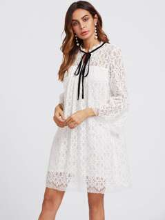 Contrast Tie Neck Trumpet Sleeve Lace Dress