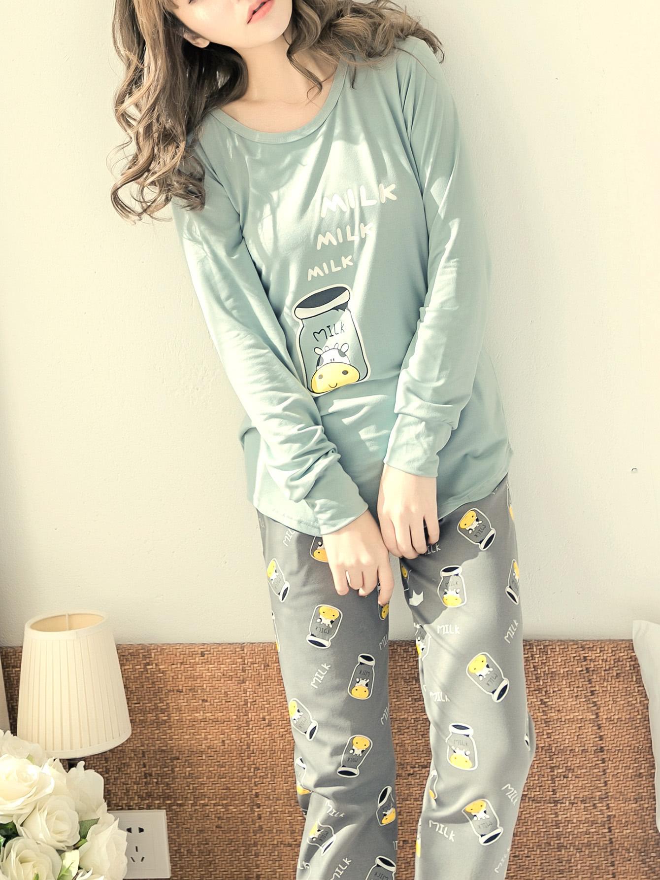 Milk Print Long Pajama Set