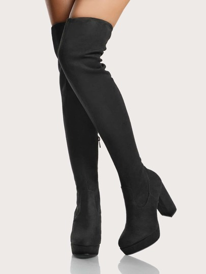 Stretch OTK Faux Suede Boots BLACK