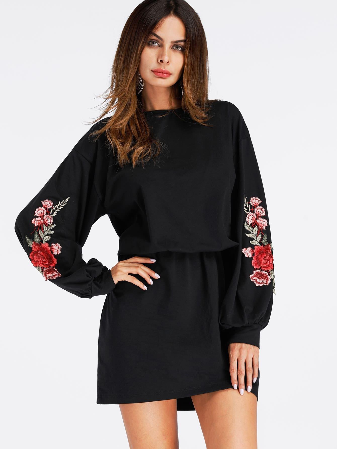 Embroidered Rose Applique Dress embroidered rose applique side split belt dress