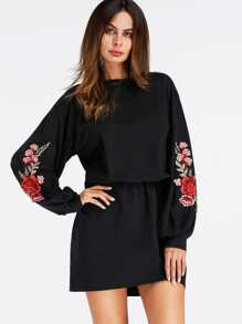 Embroidered Rose Applique Dress