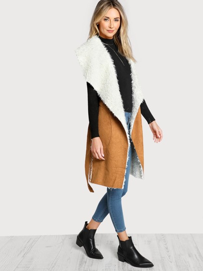 Self Belted Pocket Side Faux Shearling Vest