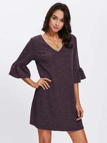 Trumpet Sleeve Heather Knit Tee Dress