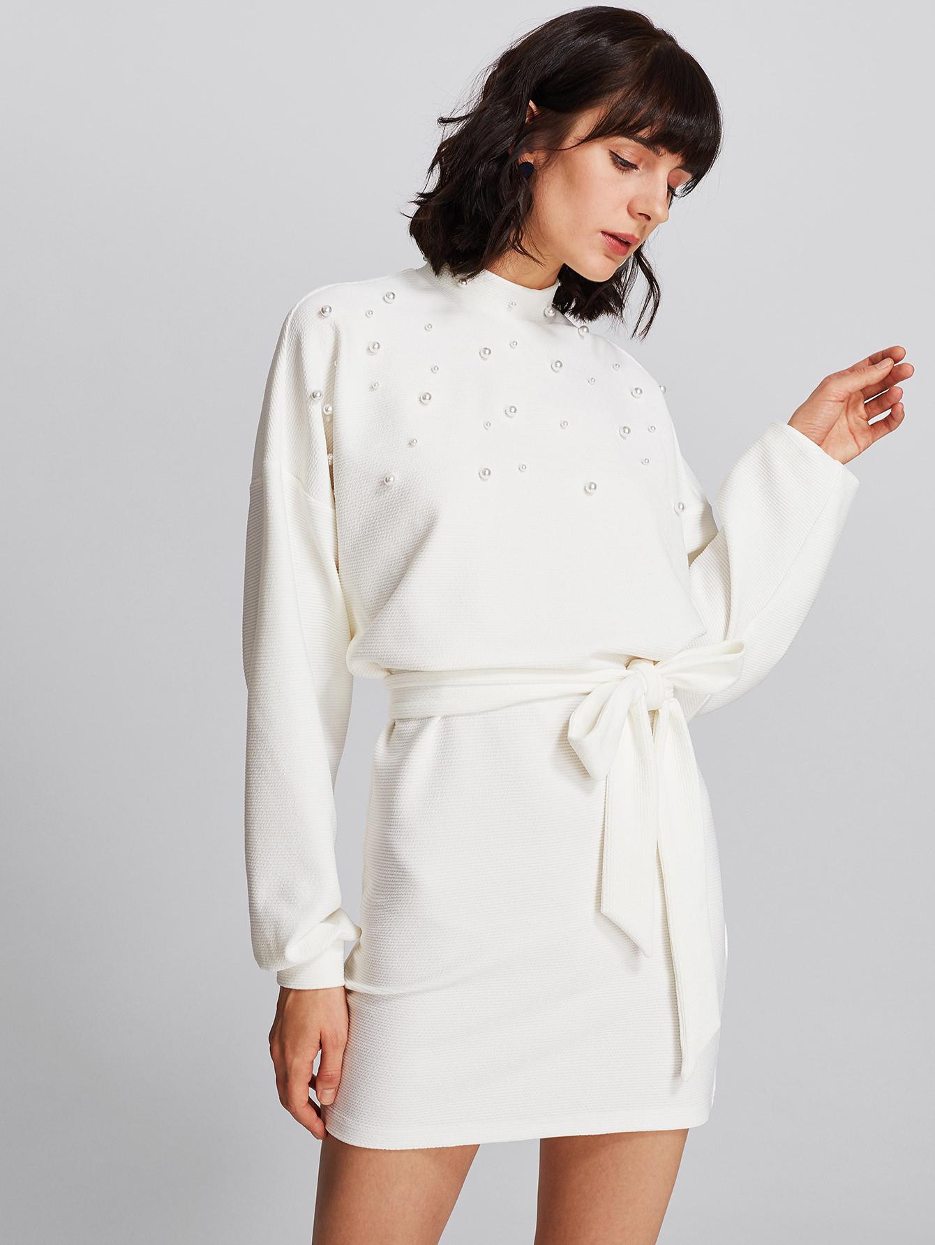Pearl Embellished Self Belted Dolman Dress self belted solid dress