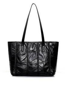 Black PU Weave Shoulder Bag