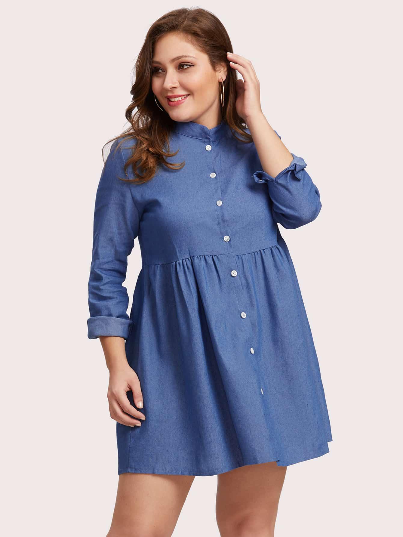 Купить Модное джинсовое платье на кнопках, Carol, SheIn