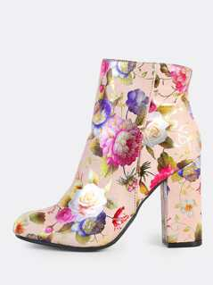 Floral Print Zip Up Round Toe Boots BLUSH
