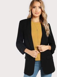 Quarter Sleeve Ruched Blazer  BLACK