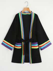 Striped Trim Self Tie Kimono Coat