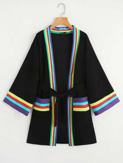 Striped Trim Self Tie Kimono Coat