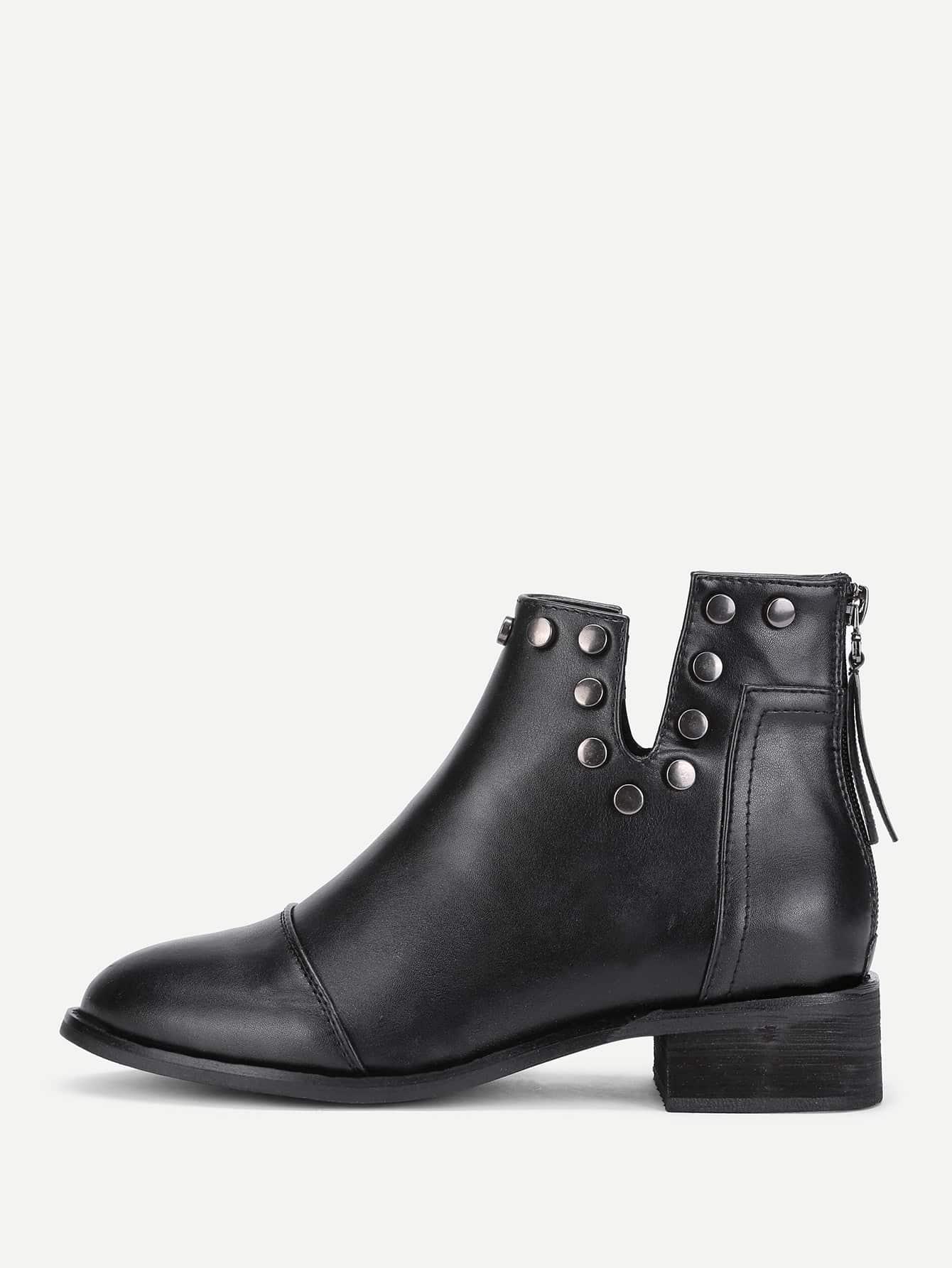 V Cut Studded Boots