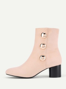 Metal Button Side Block Heeled Ankle Boots