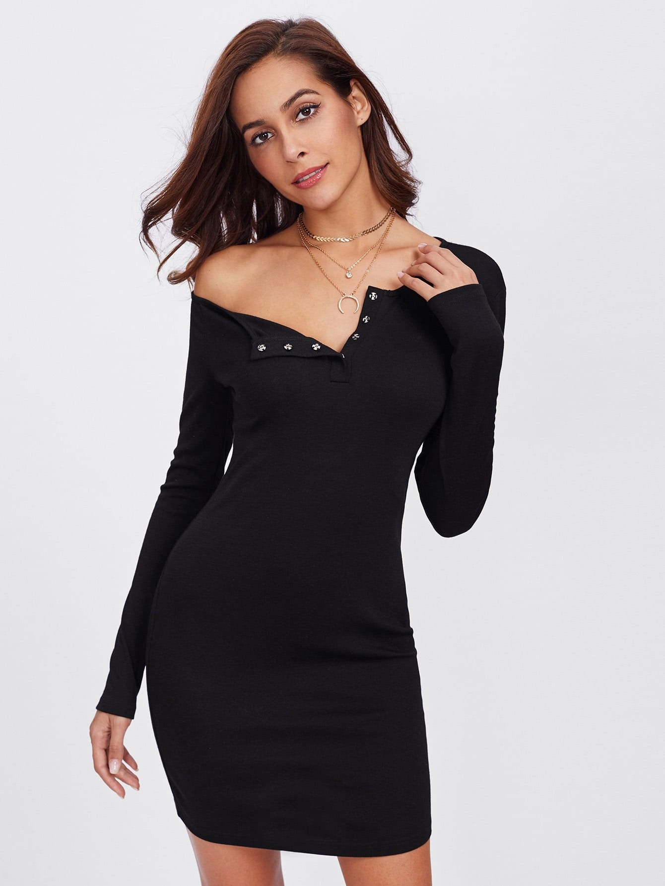 Snap Button Neck Solid Fitting Dress
