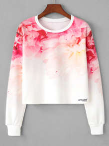 Ombre Flower Print Crop Sweatshirt