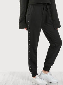 Studded Side Jogger Sweatpants BLACK