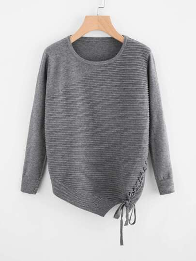 Lace Up Surplice Ribbed Sweater
