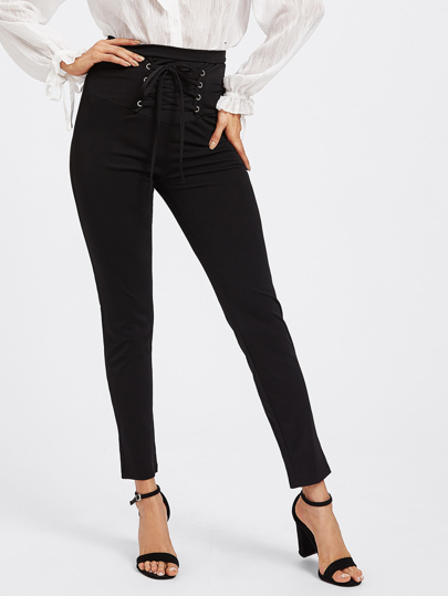Eyelet Lace Up Empire Pants