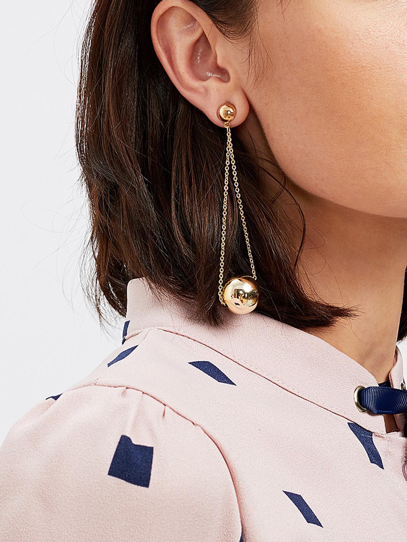 Metal Ball Design Drop Earrings two tone metal drop earrings