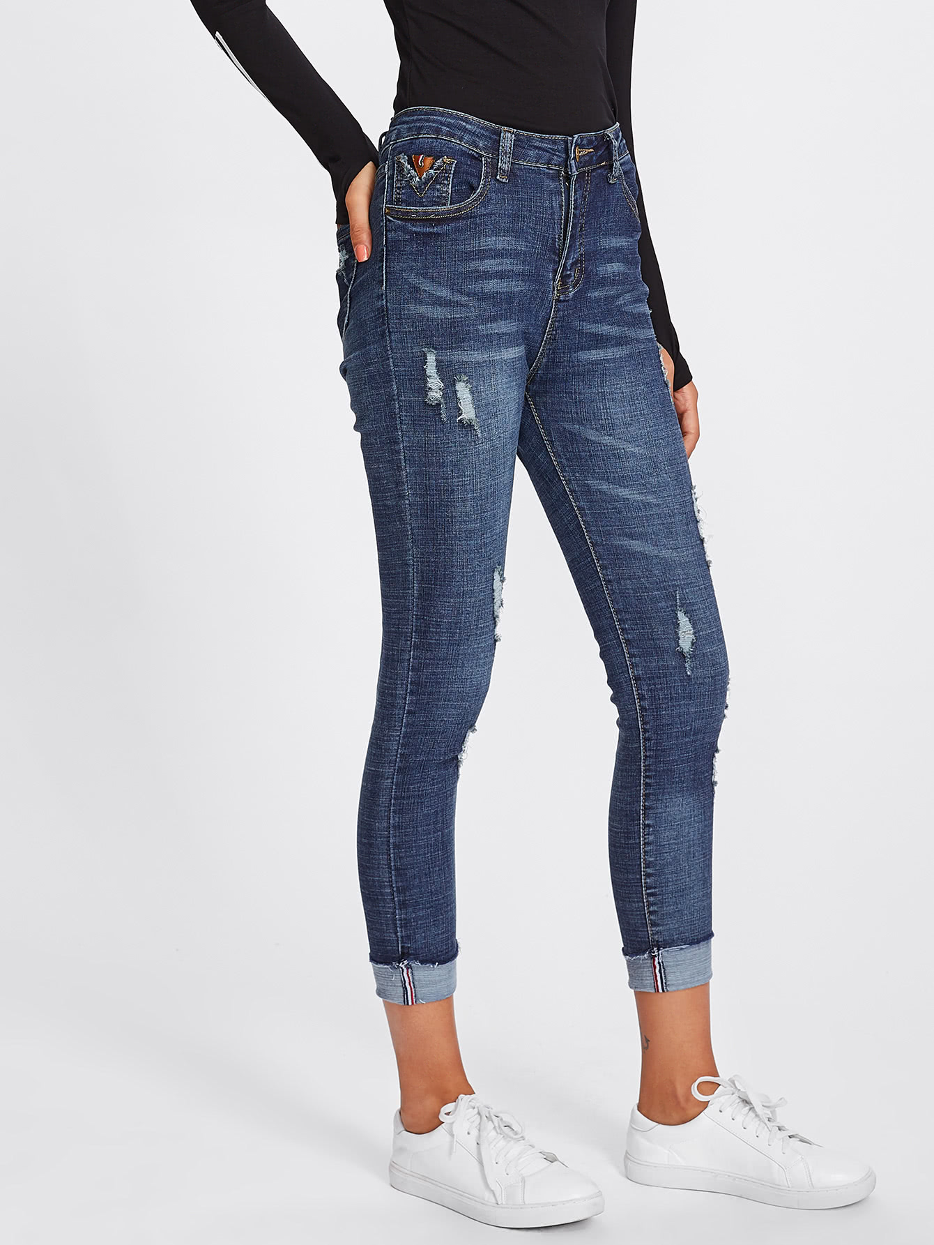 Roll Up Hem Skinny Jeans