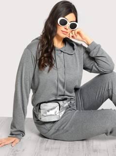 Plus Hooded Long Sleeve Basic Sweatshirt GREY