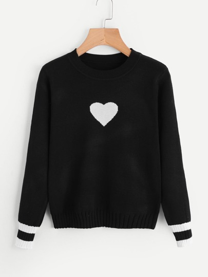 Striped Cuff Heart Knit Sweater