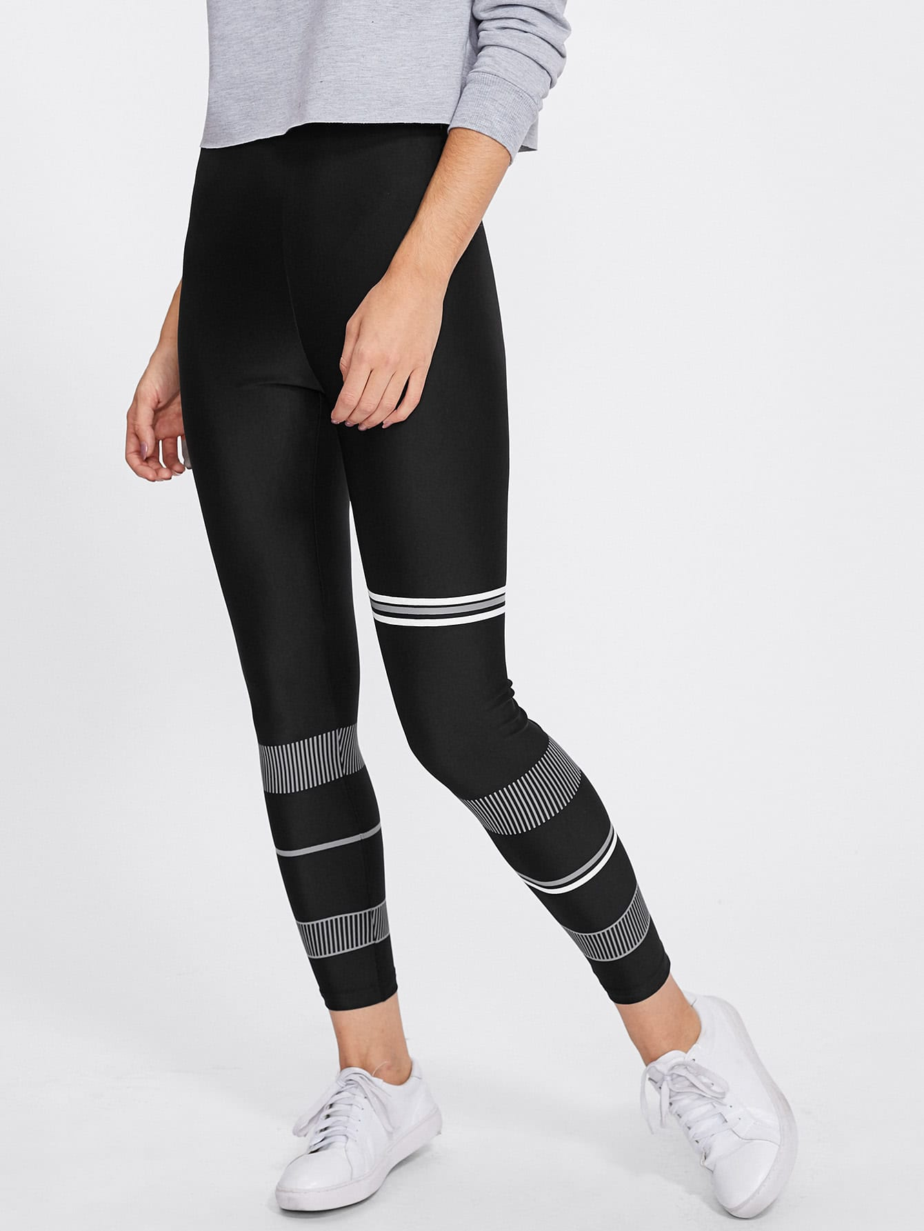 Mixed Stripe Print Leggings