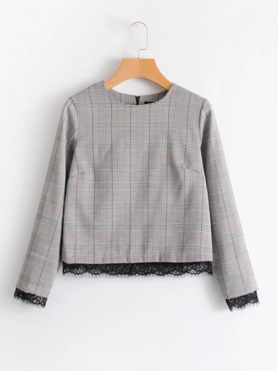 Contrast Eyelash Lace Trim Plaid Top
