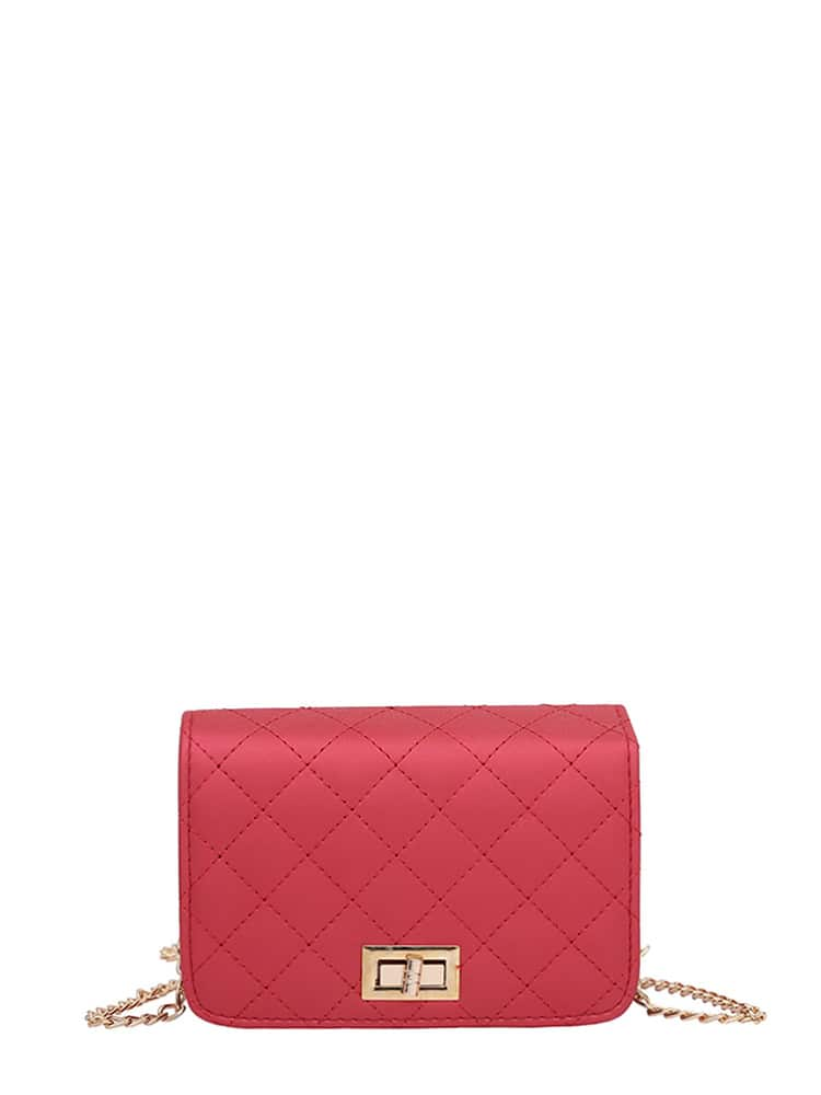 Quilted Flap Crossbody Bag With Chain metal lock quilted crossbody chain bag