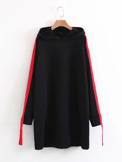 Contrast Tape Hooded Sweatshirt Dress