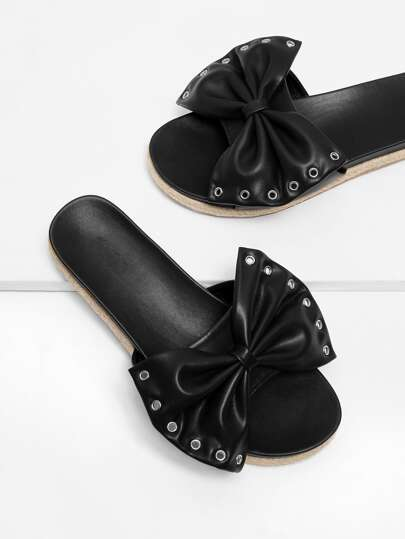Grommet Detail Bow Flat Sandals