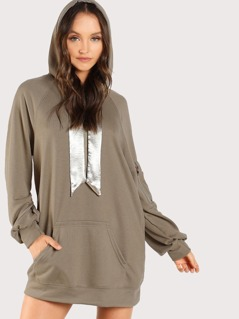 Satin Lined Hoodie Dress OLIVE