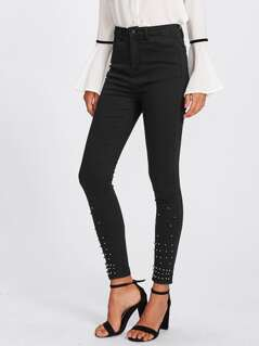 Rivet Hem Skinny Jeans
