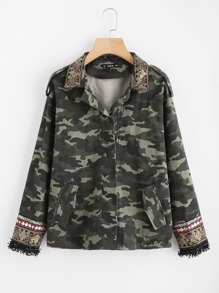 Embroidered Sequin Collar And Cuff Camo Jacket