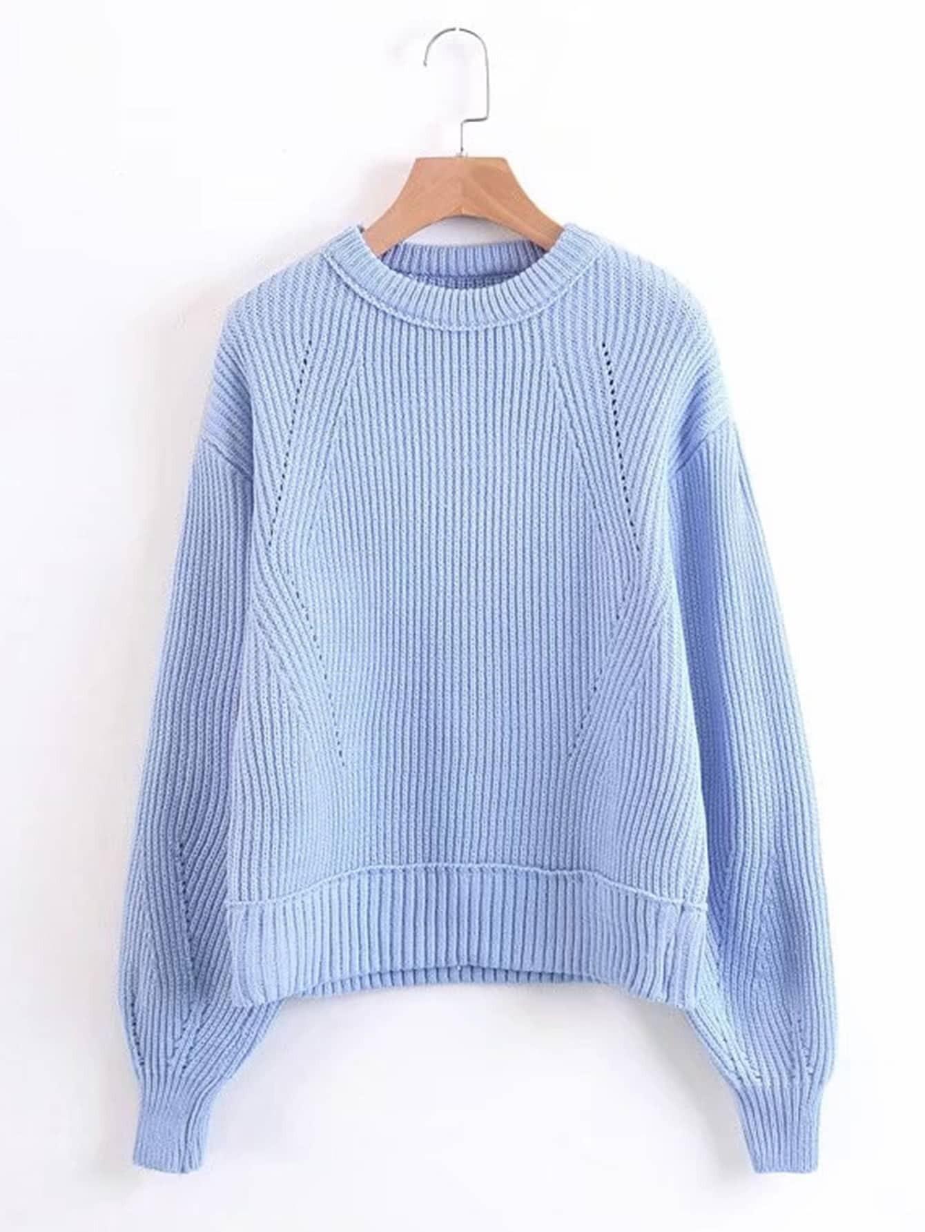 Ribbed Trim Drop Shoulder Sweater rkni171012206