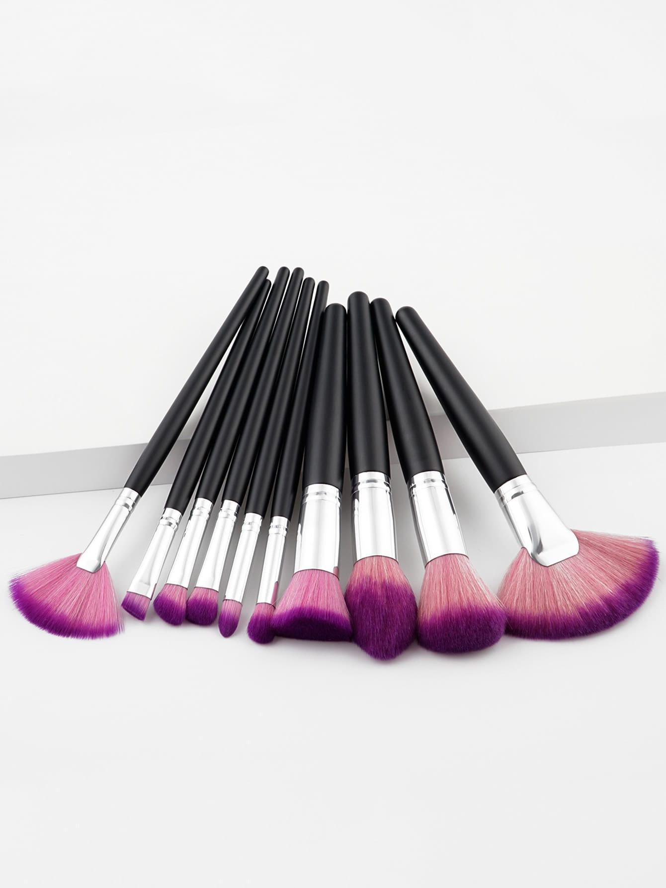 Fan Shaped Makeup Brush Set 10pcs