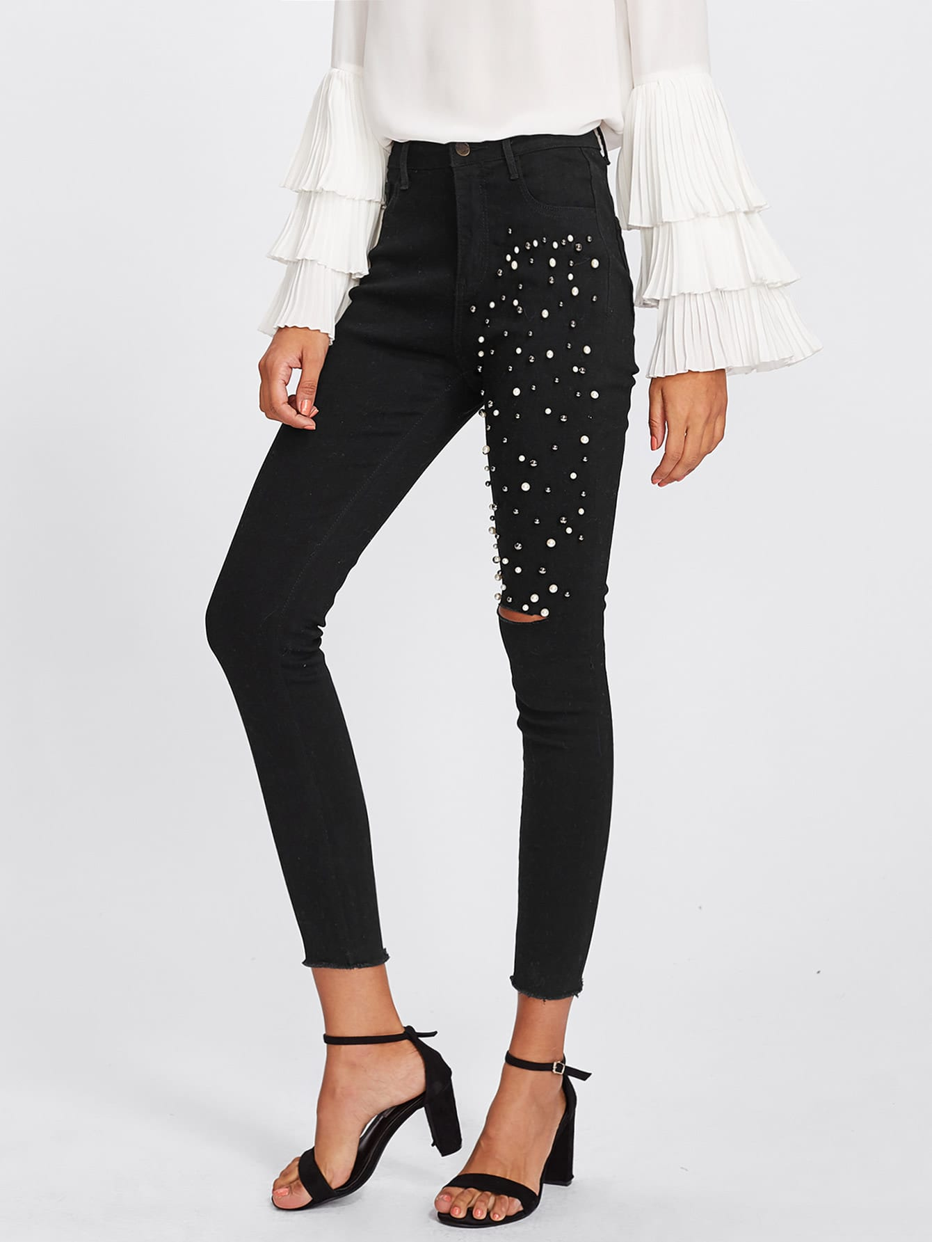 Faux Pearl Beaded Ripped Raw Hem Jeans