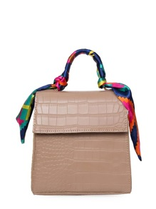Scarf Decorated Crocodile PU Flap Shoulder Bag