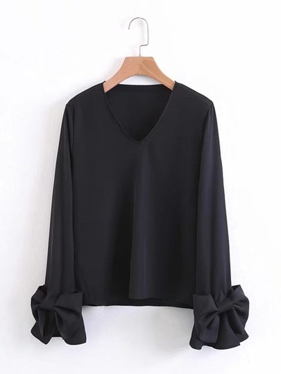Bow Embellished Fluted Sleeve Blouse