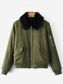 Contrast Faux Fur Bomber Jacket