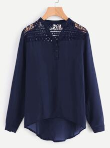 Hollow Out Lace Yoke Dip Hem Chiffon Blouse
