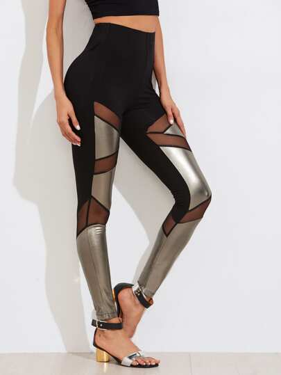 Mesh Insert Two Tone Leggings