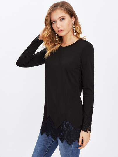 Lace Trim Chevron Hem Tee