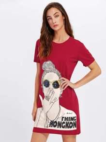 Girl Print Split Side Tshirt Dress