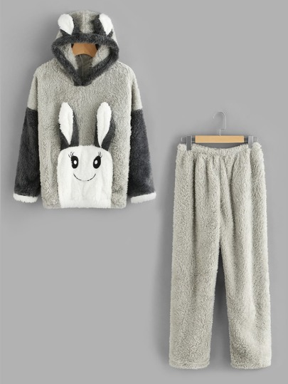 Rabbit Ear Hooded Top And Pants Pajama Set