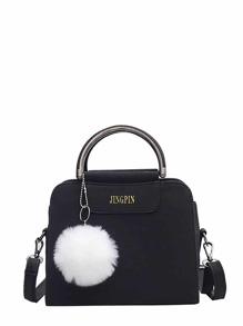 Pom Pom Decorated Shoulder Bag With Handle