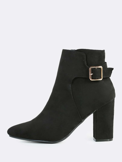 Side Strap and Buckle Point Toe Bootie BLACK
