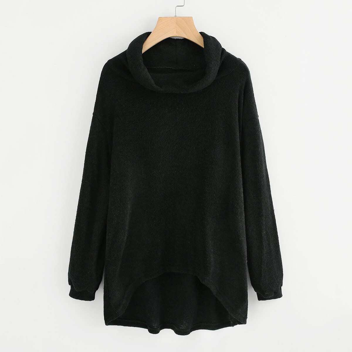 Oversized knit sweater met col