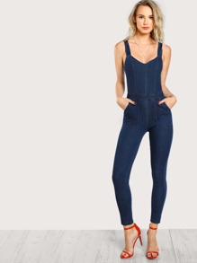Front Pocket Denim Jumpsuit DENIM